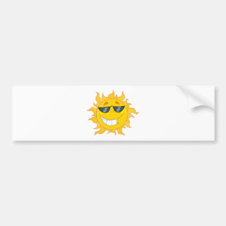 Smiling Sun Mascot Cartoon Character With Shades Bumper Sticker