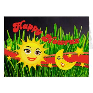 Smiling Sun Moon Green Sabzeh Persian New Year Greeting Card