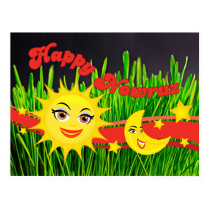 Smiling Sun Moon Green Sabzeh Persian New Year Postcard