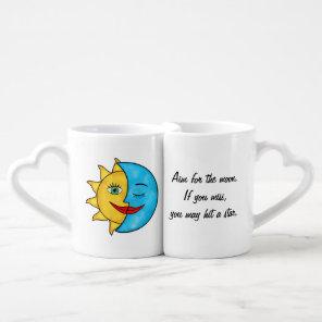 Smiling Sun Sleeping Moon aim for the moon Coffee Mug Set