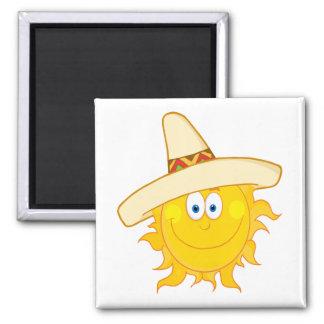 smiling sun wearing sombrero magnet