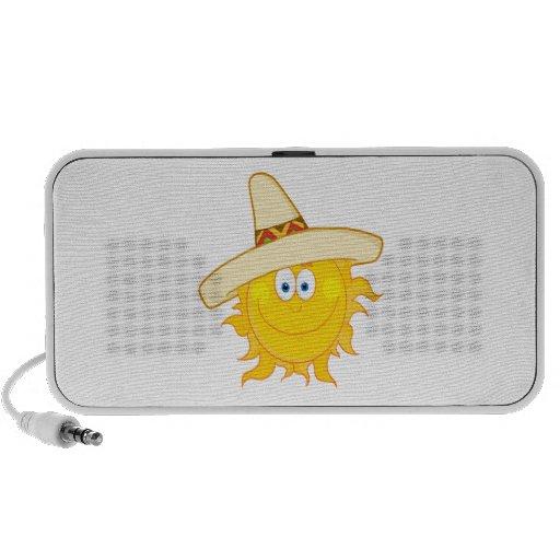 smiling sun wearing sombrero portable speakers
