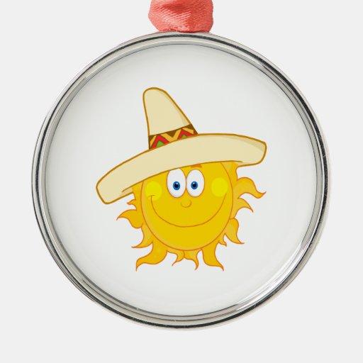 smiling sun wearing sombrero round metal christmas ornament