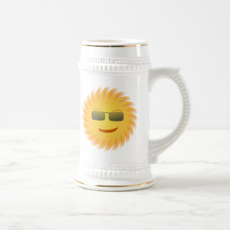 Smiling Sun Wearing Sunglasses Beer Stein