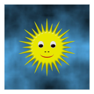 Smiling Sun with blue sky poster