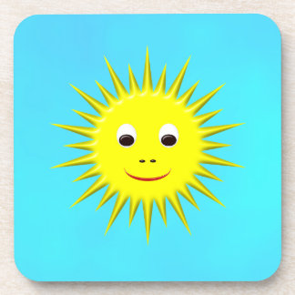 Smiling Sun with cyan sky Drink Coaster