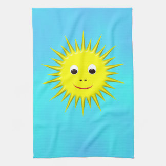 Smiling Sun with cyan sky kitchen towel