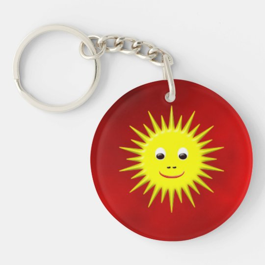 Smiling Sun with red sky key chain