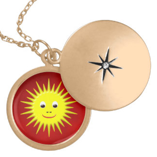 Smiling sun with red sky necklace
