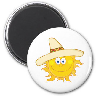 Smiling Sun With Sombrero Hat Magnet