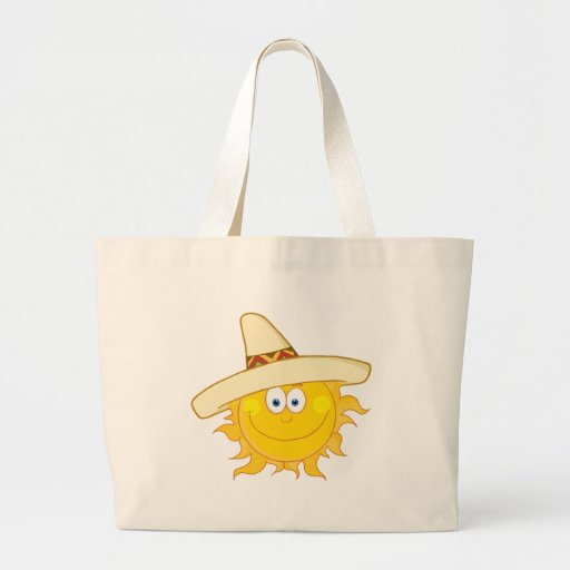 Smiling Sun With Sombrero Hat Tote Bags