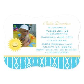 Smiling Sunshine: Blue White Party Invitation