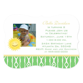 Smiling Sunshine: Green And White Party Invitation