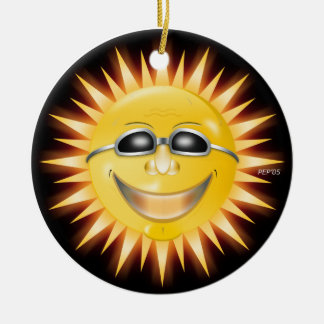 Smiling Sunshine Double-Sided Ceramic Round Christmas Ornament