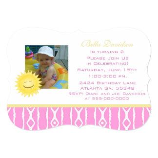 Smiling Sunshine: Pink White Party Invitation