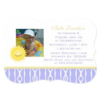 Smiling Sunshine: Purple White Party Invitation