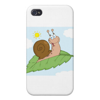 Smiling Super Snail on His Leaf iPhone 4/4S Cover