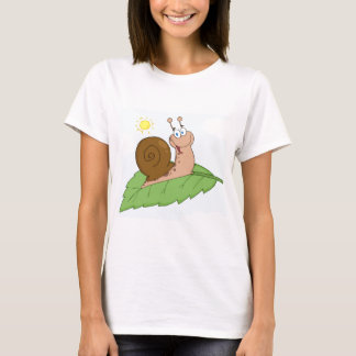 Smiling Super Snail on His Leaf T-Shirt