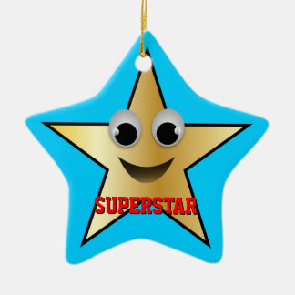 Smiling Superstar Character Gold Ceramic Ornament