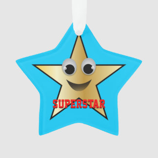 Smiling Superstar Character Gold Ornament