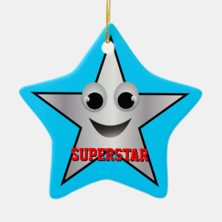 Smiling Superstar Character Silver Ceramic Ornament