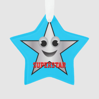 Smiling Superstar Character Silver Ornament