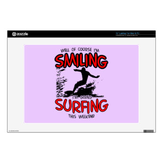 "SMILING SURFING AT WEEKEND (BLK) DECAL FOR 13"" LAPTOP"