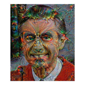 Smiling Sweater Man Deep Dream Poster