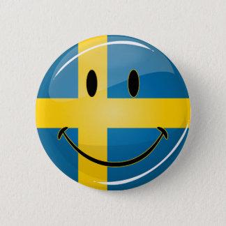 Smiling Swedish Flag Button