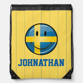 Smiling Swedish Flag Drawstring Backpack