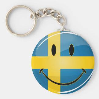 Smiling Swedish Flag Keychain