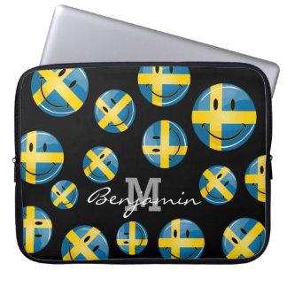 Smiling Swedish Flag Laptop Sleeve