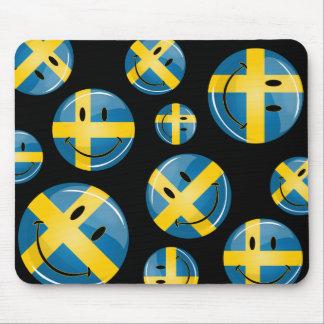 Smiling Swedish Flag Mouse Pad
