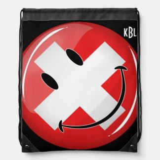 Smiling Swiss Flag Drawstring Bag