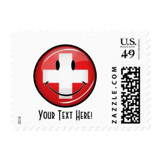 Smiling Swiss Flag Postage Stamp