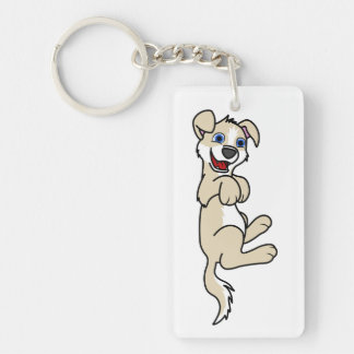 Smiling Tan Puppy Dog with Blaze Roll Over Keychain