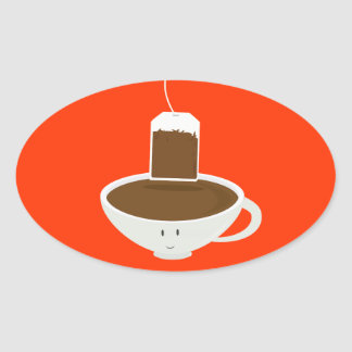 Smiling tea cup with a tea bag sticker