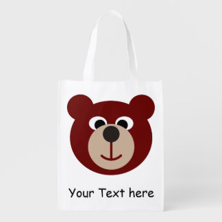Smiling Teddy Baer + your Text Reusable Grocery Bags