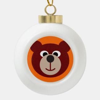 Smiling Teddy Bear Ceramic Ball Christmas Ornament