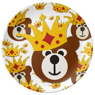 Smiling Teddy Bear with Crown Dinner Plate