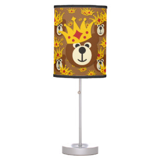 Smiling Teddy Bear with Crown Table Lamp