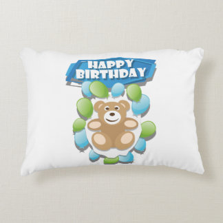 Smiling Teddy gift Happy Birthday Accent Pillow
