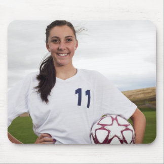 smiling teen girl soccer player w/ soccer ball mouse pad
