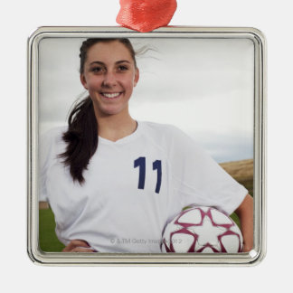 smiling teen girl soccer player w/ soccer ball square metal christmas ornament