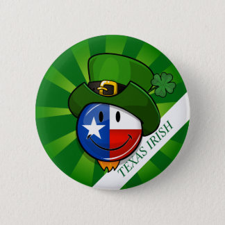 Smiling Texan Flag with St. Patrick's Day Button