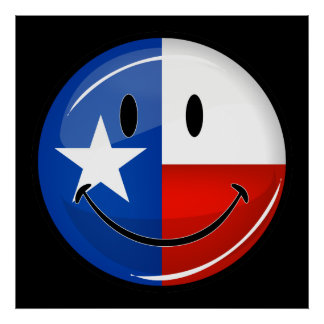Smiling Texas Flag Poster