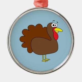 Smiling Thanksgiving Turkey Gobbler Metal Ornament