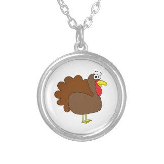 Smiling Thanksgiving Turkey Gobbler Round Pendant Necklace