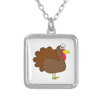Smiling Thanksgiving Turkey Gobbler Square Pendant Necklace