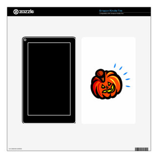 smiling thick pumpkin jack o lantern blue spikes decal for kindle fire